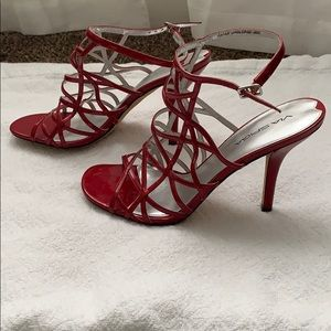 Ruby Red Strappy Heels
